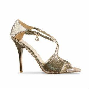 Guess Metallic Gold Peeptoe Strappy Heeled Sandal